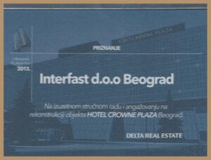 """Priznanje """"Delta Real Estate"""", Beograd, 2013"""