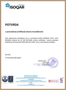Potvrda o sprovedenoj sertifikaciji sistema menažmenta – iz 2019