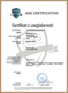 SRPS ISO 22301:2020 – uveden 2019